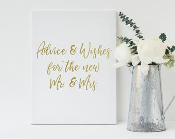 Gold Wedding Advice Sign, Advice and Wishes Sign, Guestbook Sign, Printable Sign, Wedding Sign, Typography Sign, Instant Download