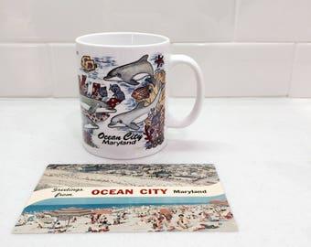 Vintage Ocean City MD Mug Dolphin Mug with Ocean City Maryland Postcard