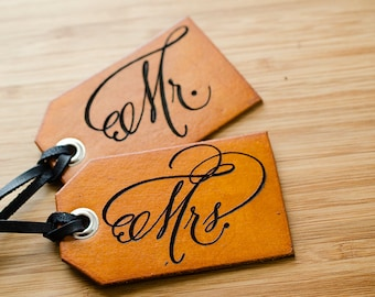 Fancy Mr. and Mrs Travel Custom Leather Luggage Tag for Wedding Gift or Honeymoon