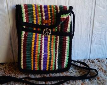 Vintage Colorful Peace Crossbody Purse - Cotton - Velcro