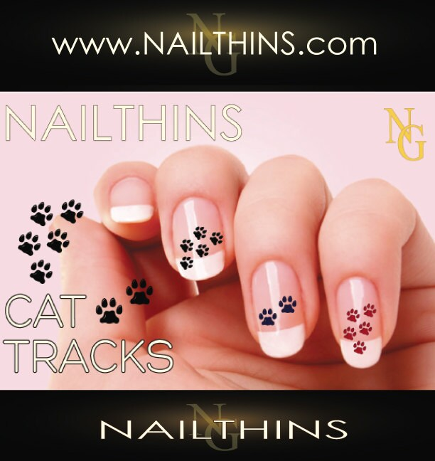 🔎zoom - CAT Paw Prints Nail Decal Feline Paw Print Nail Art Design