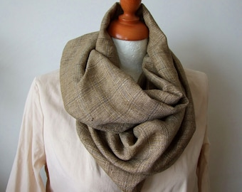 Natural linen unisex loop scarf infinity circle scarf, fall foliage colors scarf, antique gold with khaki hue and gray plaid, men's scarf