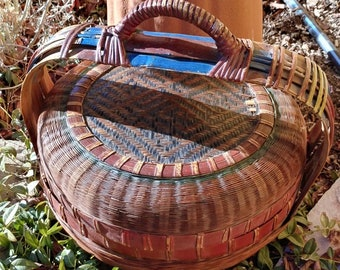Antique Chinese Bamboo Wicker Wedding or Sewing Basket