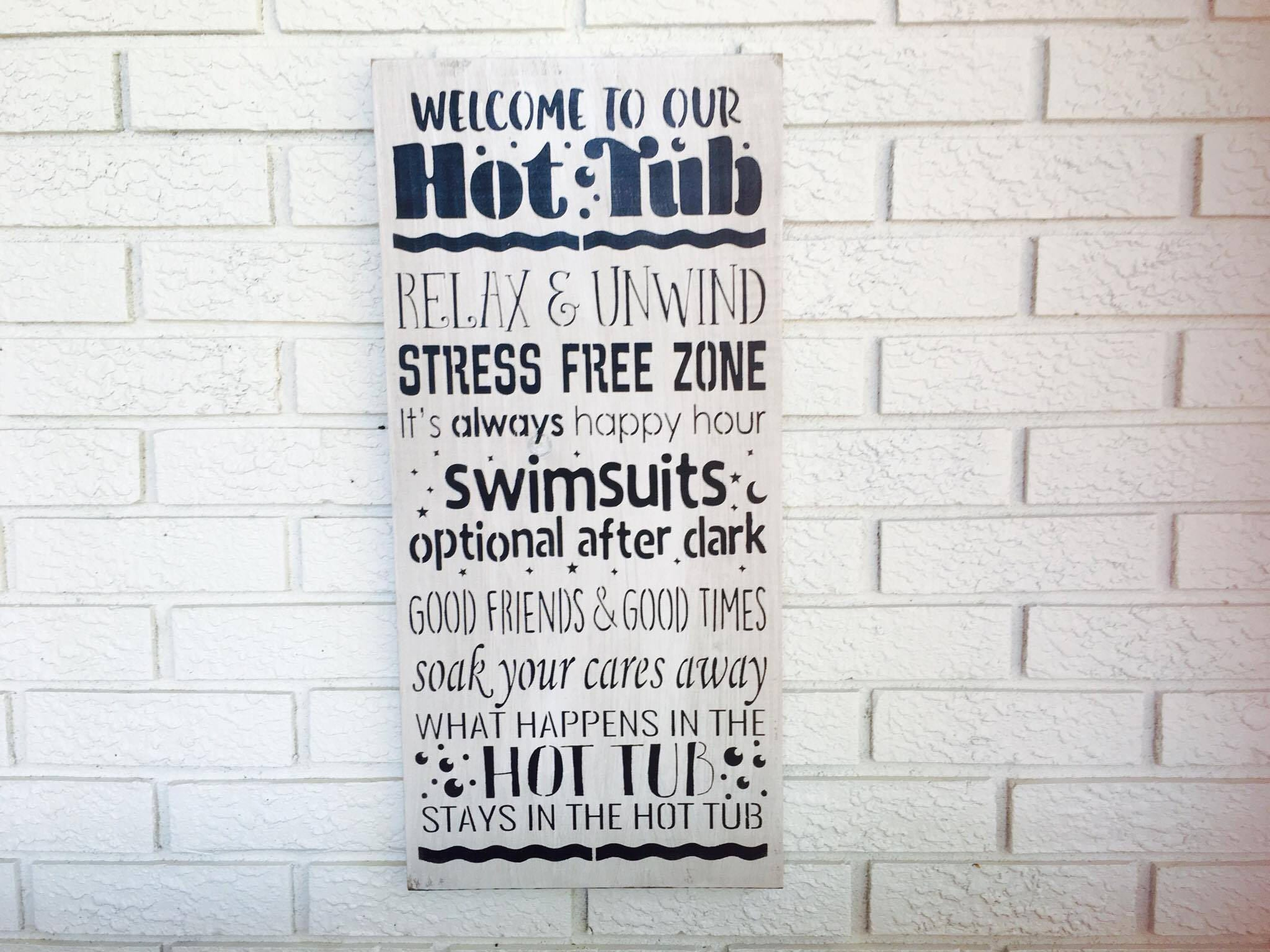 hanging garden jacuzzi shed gift funny hot tub plaque pool sign rules itm description novelty this