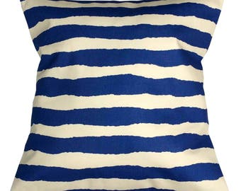 40 x 40 cm Blue Striped, Stripy Cushion in Navy Blue, Light Blue, Sea Green and Cream