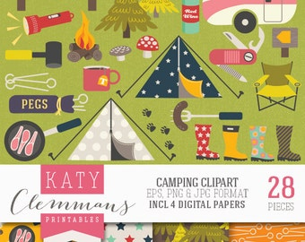 CAMPING digital clip art with digital paper pack. Printable camping and outdoors illustrations, patterns, scrapbook art - instant download.
