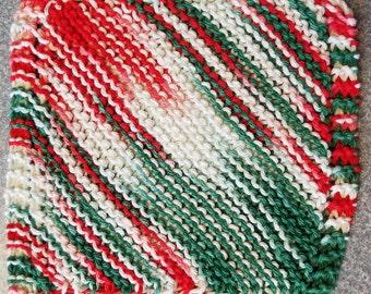 Handmade Knitted Dishcloth - Christmas Mistletoe