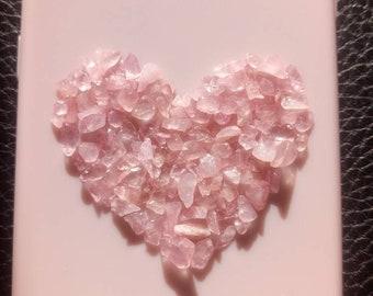 Handmade rose quartz heart healing crystal phone case! (made to order) Any phone case!