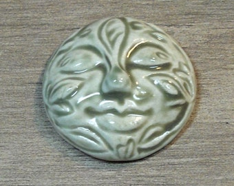 Large Leafy Face Ceramic Cabochon Stone in Pale Flesh