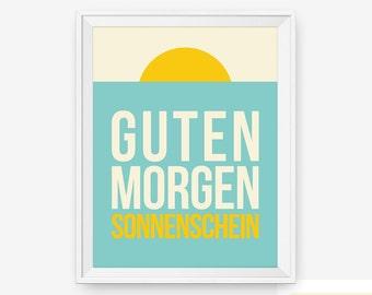 Guten Morgen Sonnenschein German Good Morning Sunshine, Typography Art, Bedroom Decor,  Baby Nursery Decor, Children Wall Art