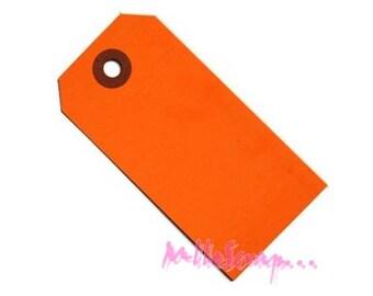 Set of 5 orange paper scrapbooking card making embellishment tags *.