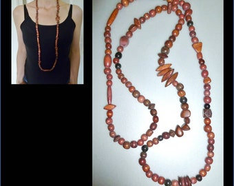 Original beautiful wood beads necklace
