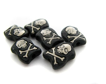 10 Tiny Jolly Roger Flags - Red - CB662