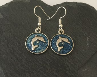Dolphin earrings / dolphin jewellery / animal earrings / animal jewellery / animal lover gift