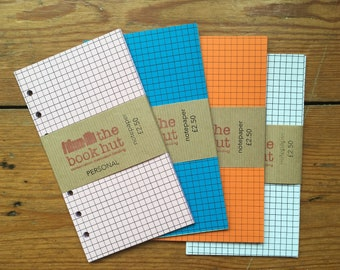 Squared Notepaper inserts - Fits a Filofax or Organiser - A5/personal/pocket/mini