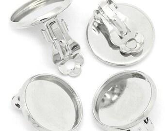 10 blank brass ring 12 mm Silver Earring
