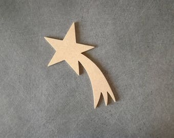 Shooting star MDF support creative hobby has blank 14 x 7.5 cm