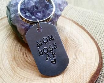 Mom boss af stamped keychain