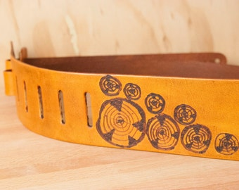 Guitar Strap - Leather Guitar Strap - Acoustic Guitar Strap - Handmade in the Faux Bois Pattern with Wood Rounds - Antique Tan - Orange Tan