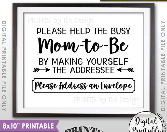 "Baby Shower Address Envelope Sign, Help the Mom-to-Be Address an envelope Thank You Envelope, Shower Decor, 8x10"" Printable Instant Download"