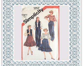 Simplicity 5357 (1981) Misses' pullover blouse, skirt, pants, and unlined vest - Vintage Uncut Sewing Pattern