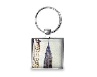 New York Chrysler Building - Glass Photo Keychain - Handmade
