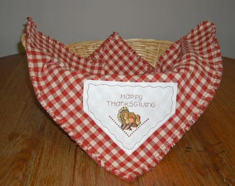Thanksgiving Bread Cloth/Basket Liner with Turkey Cross Stitched