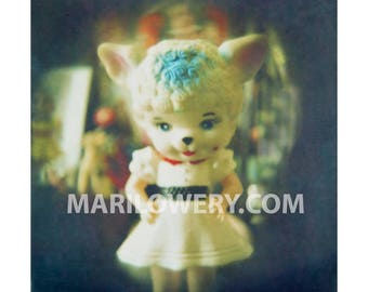 Creepy Cute Lamb Doll Photography Print, Weird Wall Art, Plastic Doll with Mask, 7x7 on 8.5 x 11 Inch Paper, frighten
