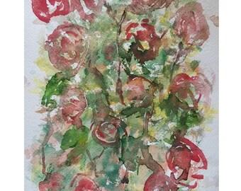 Original watercolor, roses, flowers