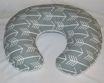Nursing slipcover,  Nursing pillow cover, , Arrows, Grey,  Minky