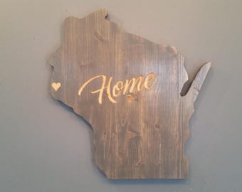 Wisconsin State Sign, Personalized Decor, State Decor, Packers, Bucks, Brewers, Housewarming, Green Bay, Madison, Badgers, Rustic Home Decor