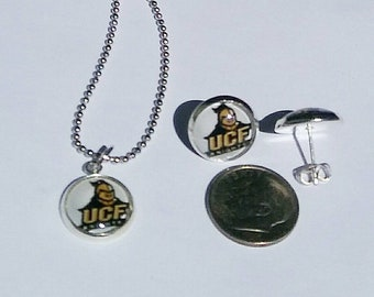 UCF Stud Post Earrings with matching necklace SET