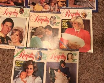 Lot of 5 Royalty Monthly Magazines and Photos - Diana Charles William Harry