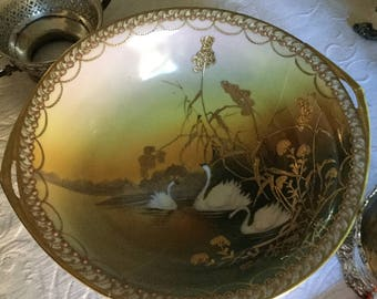 "Gorgeous 10"" Handpainted Nippon Large Swan Accent Bowl-Porcelain Slip/Gold Beaded Moriage"