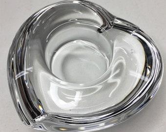 Vintage Orrefors Sweden Crystal Heart Shaped Tealight Candle Holder