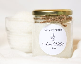 Natural Coconut Sugar Scrub Body Favor Coconut Body Scrub Natural Coconut Face Scrub Party Shower Favor Scrub Vegan Coconut Scrub 180g