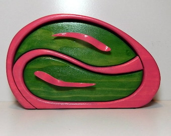 BandSaw Box Trinket Keepsake Jewelry Box Handcrafted One of a Kind Pine Abstract