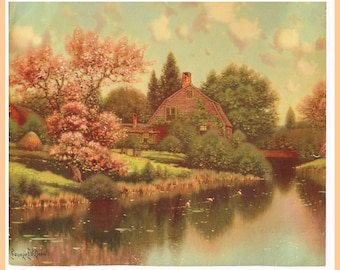 "George Drew Calendar Art Print, CA. 1940. ""Springtime Cabin"" Country Landscape epsteam"