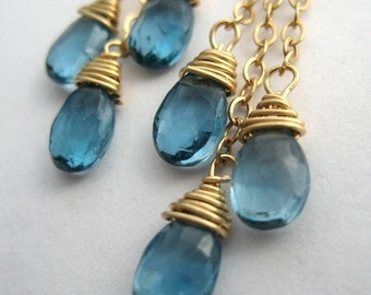 Palace Blue - 14K gold filled earrings with blue London topaz