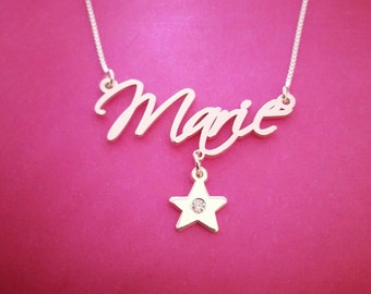 Name Necklace Hand writing Necklace Custom Handwriting Free Hand Name Necklace Free Hand Necklace Signature Necklace Star Charm Necklace