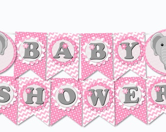 Pink Elephant Baby Shower Banner Printable Party Decorations Girl 'BABY SHOWER' - diy, pdf, Instant Download
