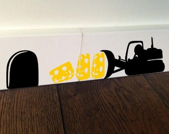 MOUSE BULLDOZER Cheese Mice Love Heart decor funny wall art decal stickers Baseboard Kids Mice