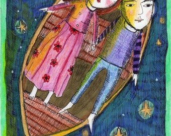 Special Price Free Shipping Print painting couple boat stars space moon romantic friend gift