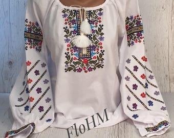 Vyshyvanka Ukrainian Embroidered Blouse , Woman's Blouse, Cotton Blouse