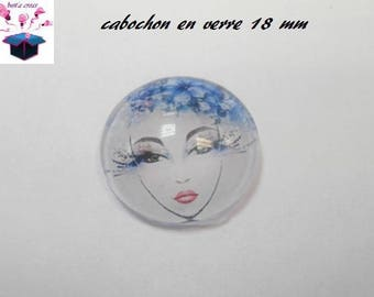1 cabochon clear 18 mm woman flowers theme