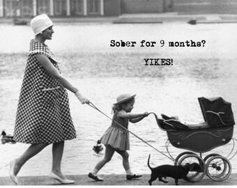 """FUNNY PREGNANCY CONGRATULATIONS Card. Retro/ Vintage humorous pregnancy """"Sober…"""" card [814-095]"""