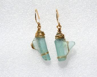 Gold Drop Earrings Gold Filled Roman Glass Earrings Roman Glass Jewelry Handmade Earrings Aquamarine Glass Israel Roman Glass Free Shipping