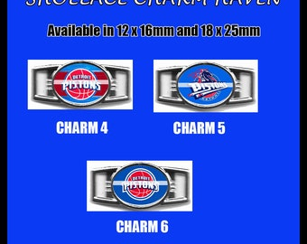 DETROIT PISTONS Shoelace Charm  Paracord Bracelet Charm Oval Charm 12 x 16mm or 18 x 25mm Charms