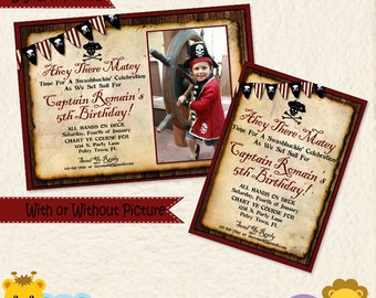 Pirate Invitation • Pirate Birthday Invite • Old Map • Skull and Bones • Pool Beach Party • Captain • Picture • Red black white • 031A3