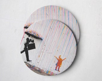 Banksy Drink Coasters – Absorbent Coaster Set of 10 – Coasters for Women & Men – Heavyweight Reusable Thick Pulpboard - Kid in Rain(bow)